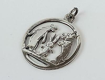 Antique STERLING SILVER PIP SQUEAK & WILFRED PENDANT c1920 Reg No 677150