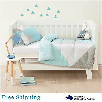 Baby Bedding Cot Set 2 Piece Reversible Comforter Nursery Boys Girls Kids Room