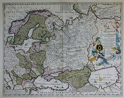 "Original Antique Map ""Russia in Europe"", N. Visscher 1681"