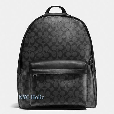 New Coach F55398 Mens Charles Backpack In Signature Charcoal Black NWT