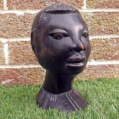 Vintage Hand Carved Wooden African Bust - Ethnic Wood Head Carving - Africa