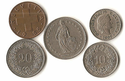 Lot of 5 Switzerland coins, 2, 5, 10, and 20 rappen, 1 franc, date 1927 - 1982