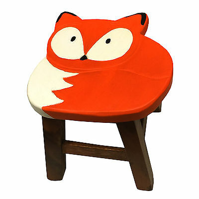Kids Wooden Hand Carved Fox Stool Chair – Children's Animal Theme Furniture