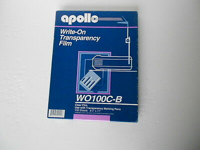 Apollo WO100C-B Write-On Transparency Film 8.5x11 Clear  90 Sheets