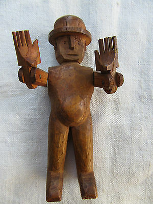 Vintage Folk Art Carved Wood Articulated Man With Hat Circa 1920