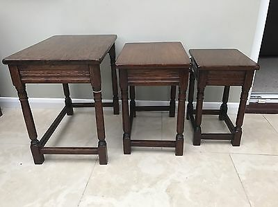 Quality Solid Oak Nest Of 3 Tables