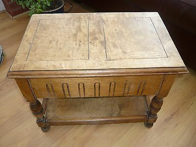 Antique Oak Sewing box Occasional Side Table Stamped Cranlea