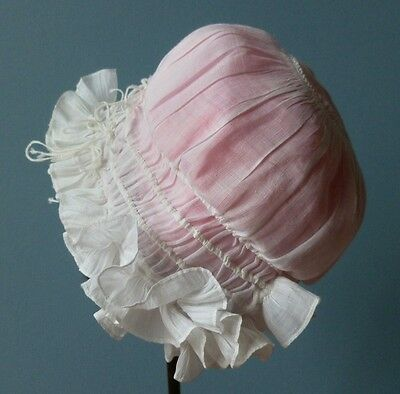 A Victorian Fine Lawn Baby Bonnet With Frills And French Knots