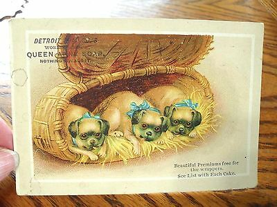 Detroit Soap Co Queen Anne Soap Victorian Trade Card 3 Pug Dogs