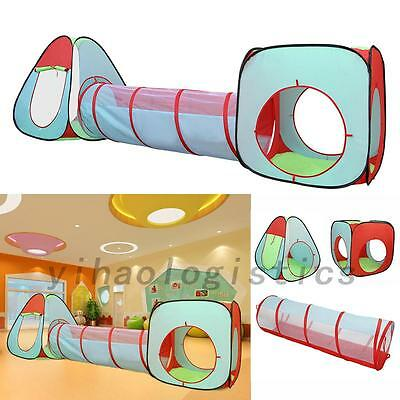 Foldable 3 In 1 Kid Tunnel Tent Baby Toy Play Game House Outdoor Tents Xmas Gift