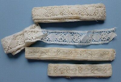 FOUR LENGTHS OF UNUSED ANTIQUE HAND MADE LACE IN 2 PATTERNS  - Unused Shop Stock