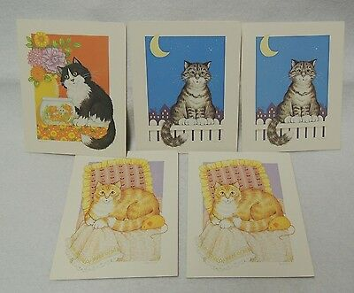 Vintage 1984 House Cat Note Cards from Current 5 card w/ envelopes in Box