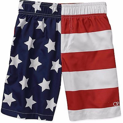 Boys American Flag Op Swim Trunks Red White & Blue Board Shorts Xs S M L Xl Xxl