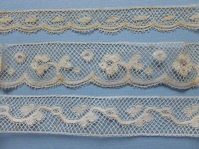 THREE LENGTHS OF ANTIQUE HAND MADE VALENCIENNES LACE - Unused Shop Stock