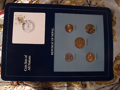 Coin Sets of All Nations Nepal 1994 (2051) UNC 1 Rupee, 5,10,25,50 Paisa Scarce