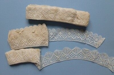 THREE LONG LENGTHS OF ANTIQUE HAND MADE TORCHON LACE - Unused Shop Stock