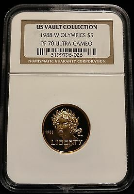 1988-W Proof Olympics Gold $5 Commemorative Coin NGC PF70 UCAM