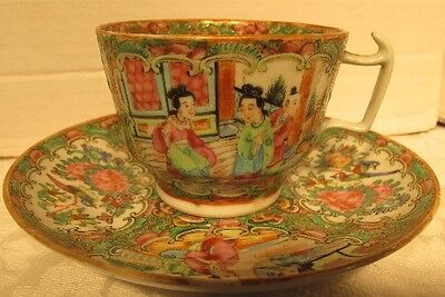 19th CENTURY CHINESE FAMILLE ROSE  MEDALLION PORCELAIN CUP  & SAUCER
