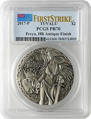 2017-P $2 Tuvalu Norse Goddesses Freya 2oz High Relief Antiqued PCGS PR70 FS