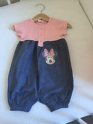 Baby Girl BNWT  Minnie Mouse Pink Denim Romper Playsuit 3-6 Months