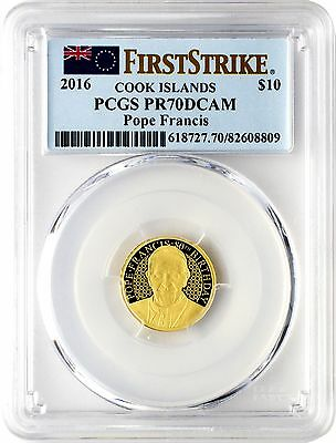 2016 $10 Cook Islands Pope Francis Gold Coin PCGS PR70DCAM First Strike