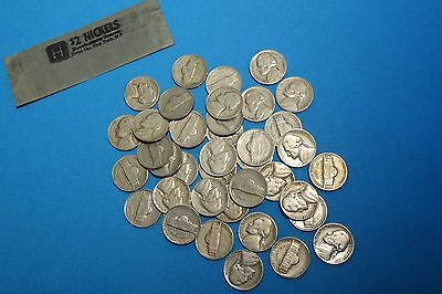 Jefferson Nickel Roll - All 's' Mint, 1940 To 1954 - 40 Coins