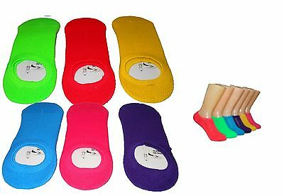 6 Pair Women's No Show Superlite Slipper/Socks W/Cushion Size 9-11 Solid Colors