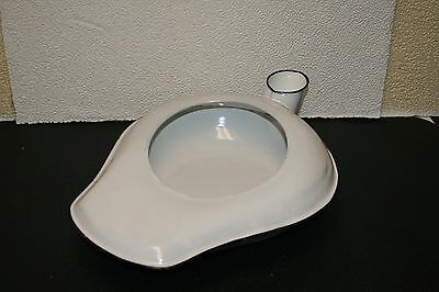 Antique Vintage Black & White Enameled Bed Pan URINAL PLANTER DECORATE STEEL EX