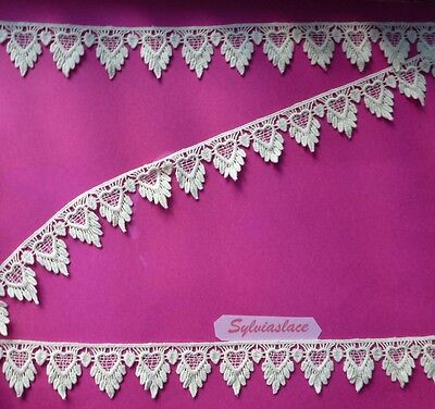 2.10  metres of  Beautiful   Cream  Heart  Design   Guipure  Lace  35 mm Wide