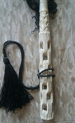 Antique Victorian BEAUTIFUL Bone Chain Carved Chantilly Lace Parasol Mourning