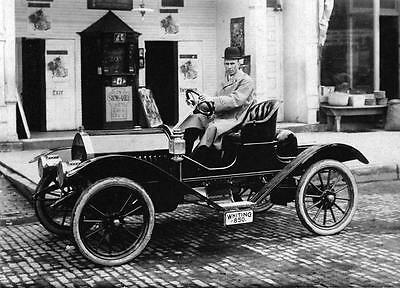 Old Photo. Man in 1910 Whiting Model A Roadster Automobile
