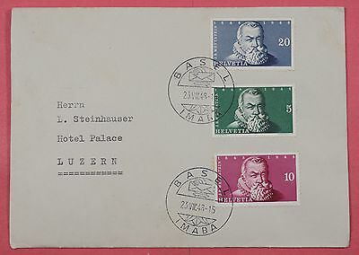 1948 Fdc Switzerland Wettstein #b178A-B Basel Imaba Cancel To Lucerne