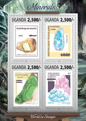 Uganda 2013 Minerals of the World in Stamps  4 Stamp Sheet 21D-123