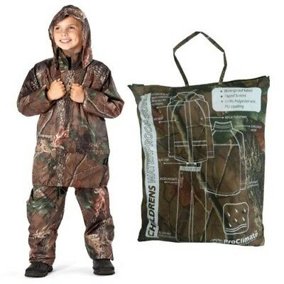 ProClimate Childrens Camo Waterproof Jacket & Trousers Packaway PU Coated Suit
