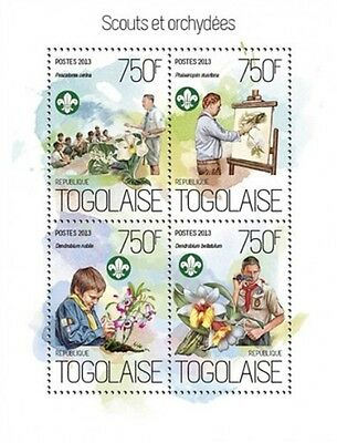 Togo - 2013 Boy Scouts and Orchids - 4 Stamp Sheet - 20H-825