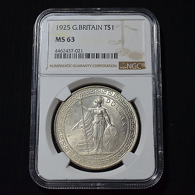 1925 Great Britain Silver Trade Dollar, Choice Uncirculated, Ngc Ms63