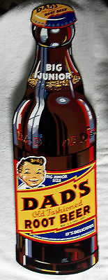 "Beautiful Dad's Root Beer Bottle Sign-Heavy Steel-Porcelain Look & Feel 30"" tall"