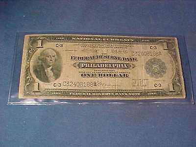 1918 USA One Dollar FEDERAL RESERVE NATIONAL CURRENCY Philadelphia NOTE