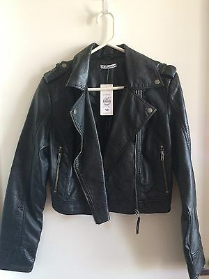 "Ladies Size 14 PU Leather ""Biker Jacket"""