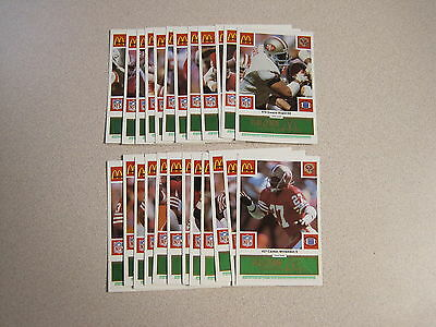 McDonalds 1986 SF 49ers Complete Green Set of 24 w/ #80 Jerry Rice Rookie - NOS