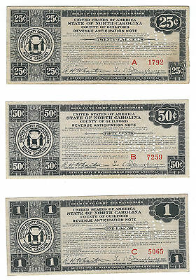 1933 GUILFORD, N CAROLINA, 3 DIFFERENT DEPRESSION SCRIP NOTES, NC140-.25/.50/1.b
