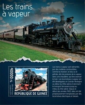 Guinea - 2014 Steam Trains on Stamps - Stamp Souvenir Sheet - 7B-2358