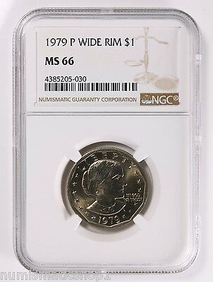 1979-P Wide Rim Near Date Susan B Anthony Dollar SBA NGC MS66 New Holder