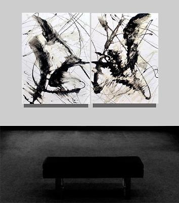 Large Black and White Abstract Signed Resin Painting Tara Baden Modern Fine Art