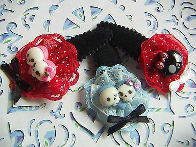 Hair Bow Monster Skulls Heart Shape Snap Clips 3pcs NEW Handmade