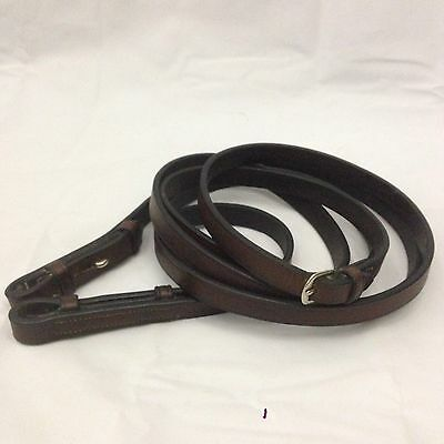 """55"""" Brown Leather Reins English Tack Smooth Leather Two Piece 5/8"""""""