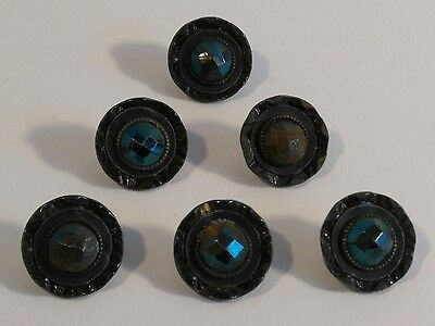 6 Antique GLASS CAGE CUT STEEL FLOWER MIRROR TINTED BRASS Metal Buttons