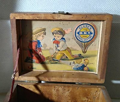 Antique Clark's O.N.T. Wood Sewing Box  Boys with Cannon, Doll  &  2  ONT spools