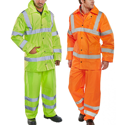 Mens Real Hi Viz Waterproof Suit Reflective Safety Highway Jacket Trouser EN471