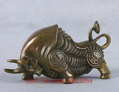 Chinese Bronze Handwork Carved Cattle Statue W Ming Dynasty Mark QT061